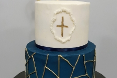 Geometric Blue Gold Baptism Christening Cake
