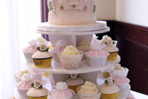 Vintage Birdcage Cake with Cupcake Tower