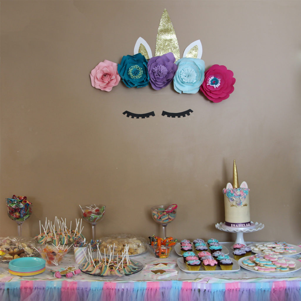 Unicorn themed dessert table