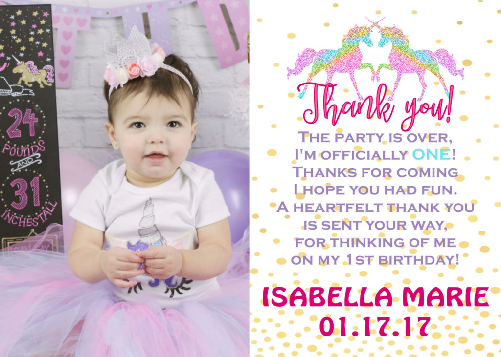 Unicorn themed thank you card