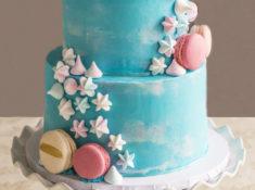 Macarons Meringue Kisses Watercolor Effect Buttercream Cake