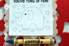 Valentine's Day Card with Crayons colour your own close up