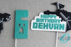 Minecraft Glitter Cake Topper