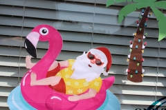 Large Santa and Palm Tree Window Decor