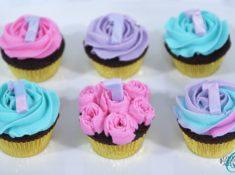 Unicorn colored chocolate cupcakes