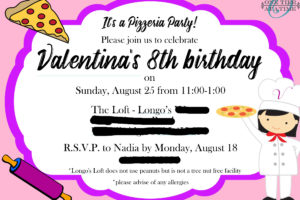Cooking Pizza Party Invitation